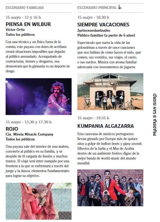 Programación del Miércoles 15 de Mayo Fiestas de San Isidro 2019